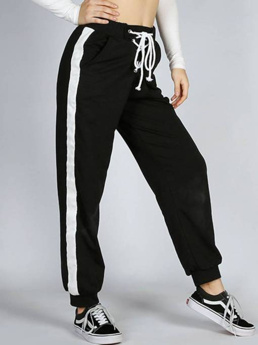 Color Block Striped Lace-Up Women's Casual Pants
