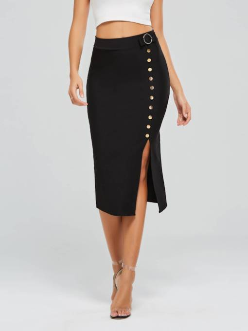 Row of Buttons Slit High Waist Women's Skirt