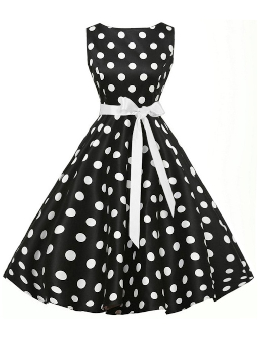 Round Neck Sleeveless Polka Dots Prints Dress