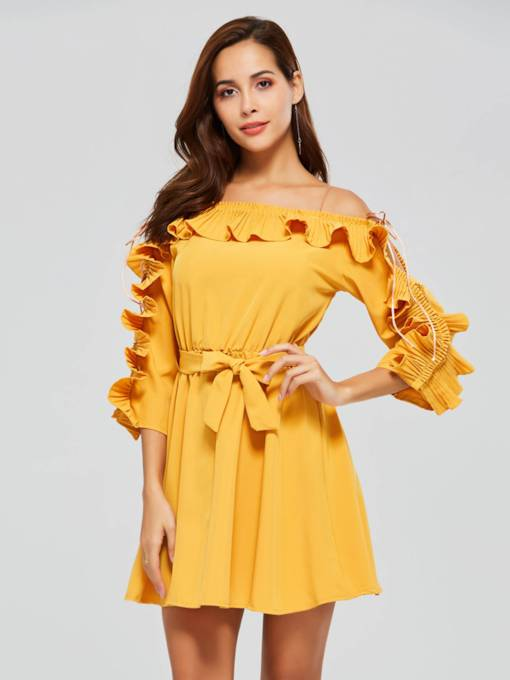 Pleated Wave Cut Belt Half Sleeve A-Line Dress