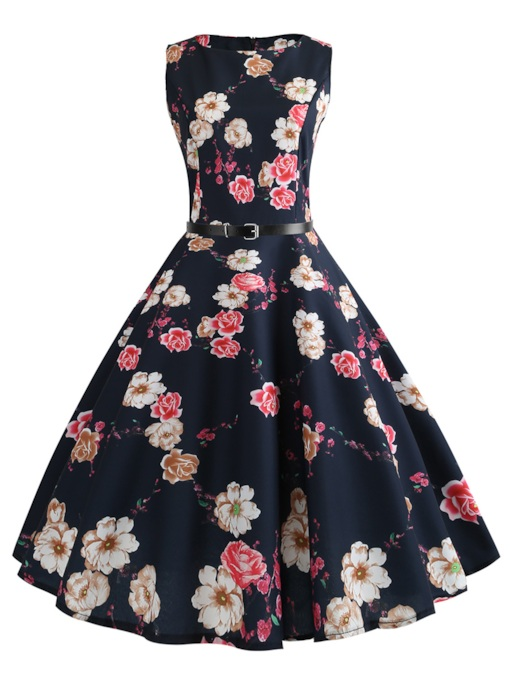 Floral Prints Belt Waist Sleeveless Zip Day Dress