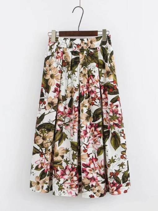 Floral Print High Waist Pleated Women's Skirt