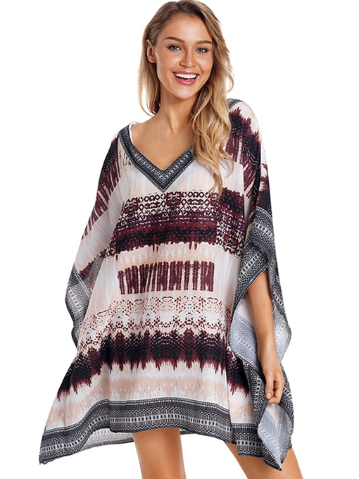 Knee-Length Asymmetrical Batwing Sleeve Beach Cover Ups