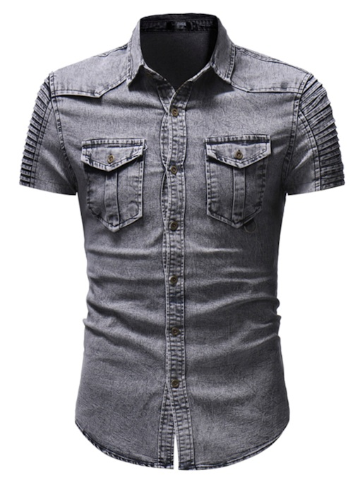 Lapel Short Sleeve Men's Denim Shirt