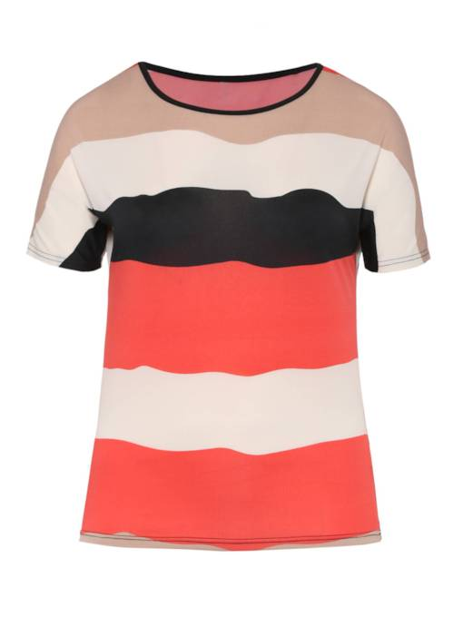 Plain Color Block Plus Size Women's T-Shirt