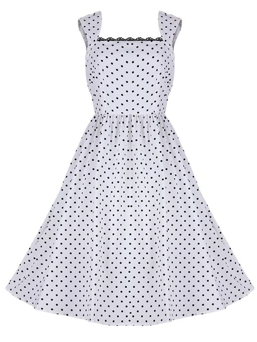 Polka Dots Square Neck Backless Women's Day Dress