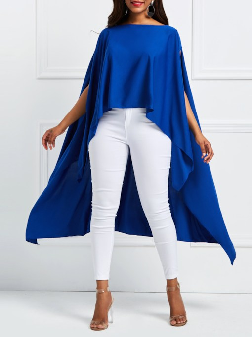 Slash Neck Plain Asymmetric Women's Cape