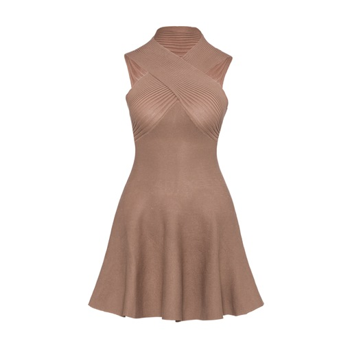 Khaki Sleeveless Women's Day Dress
