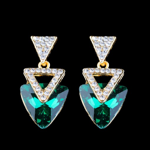 Fashion Triangle Rhinestone Diamante Earrings