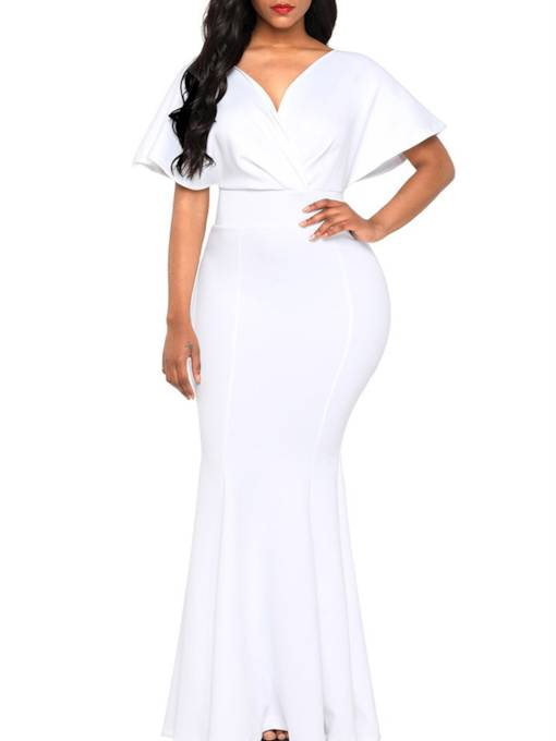 Cap Sleeve High Waist Backless Elegant Maxi Dress