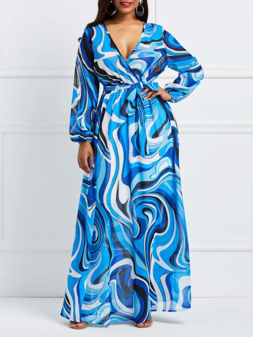 Print Long Sleeve V-Neck Women's Maxi Dress