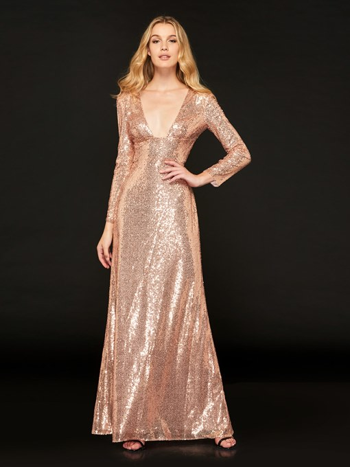 Reflective Dress Sequins Empire Sheath Evening Dress
