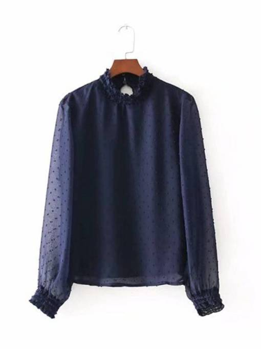 Frilled Turtleneck Mesh Patchwork Women's Blouse