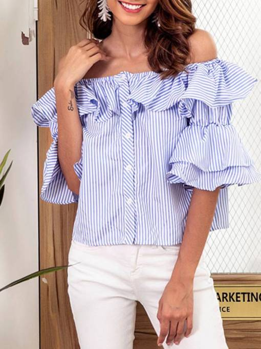 Ruffle Sleeve Falbala Stripe Single-Breasted Women's Blouse