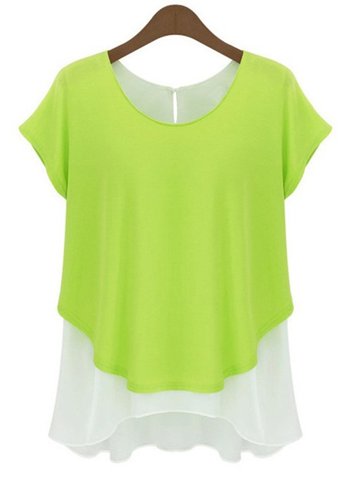 Fake Two Pieces Color Block Women's Simple Tee