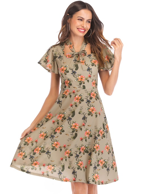 Bow Collar Floral Prints Short Sleeve Day Dress