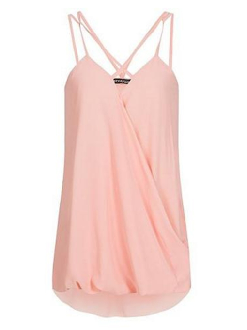Plain Pleated Chiffon Solid Color Women's Tank Top