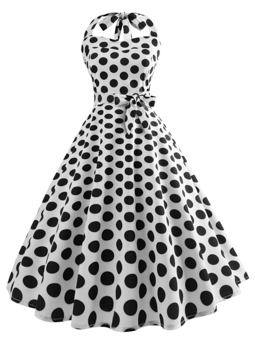 Tie Neck Polka Dots Prints A-Line Day Dress