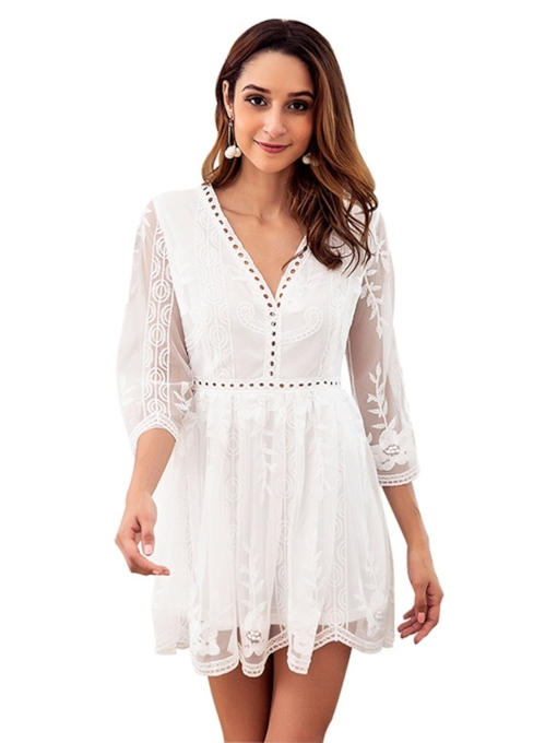 See-Through White Women's Lace Dress