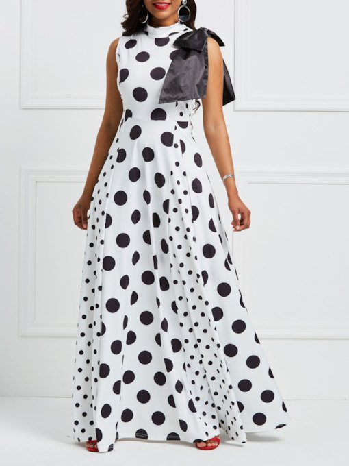 Stand Collar Polka Dots Sleeveless Maxi Dress