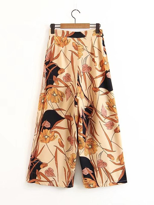 Floral Print Wide Legs Loose Women's Casual Pants