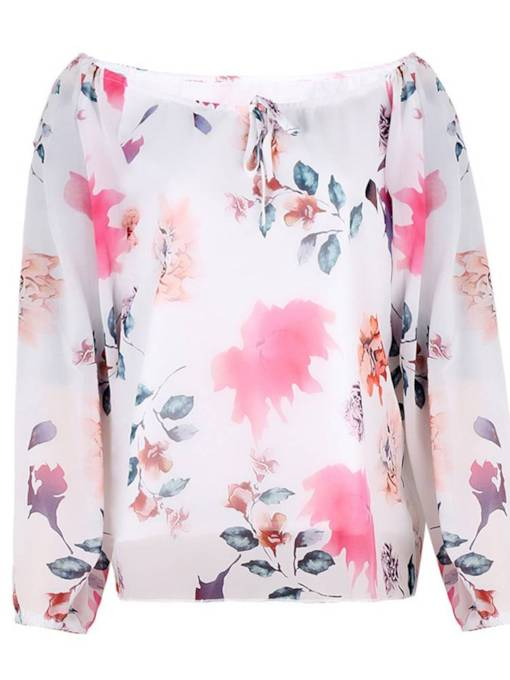 Boat Neck Chiffon Lace Up Floral Women's Blouse