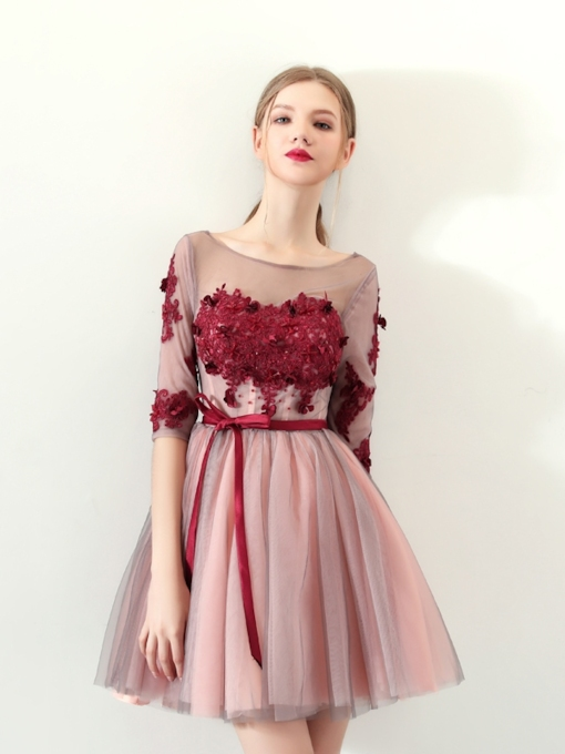 A-Line Appliques Bowknot Homecoming Dress with Sashes
