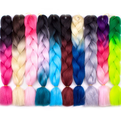 Ombre Synthetic Kanekalon Braiding Hair For Crochet Braids False Hair Extensions