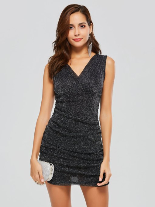 V Neck Sleeveless Women's Bodycon Dress