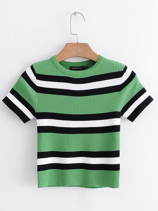 Contrast Color Round Neck Women's Summer Sweater