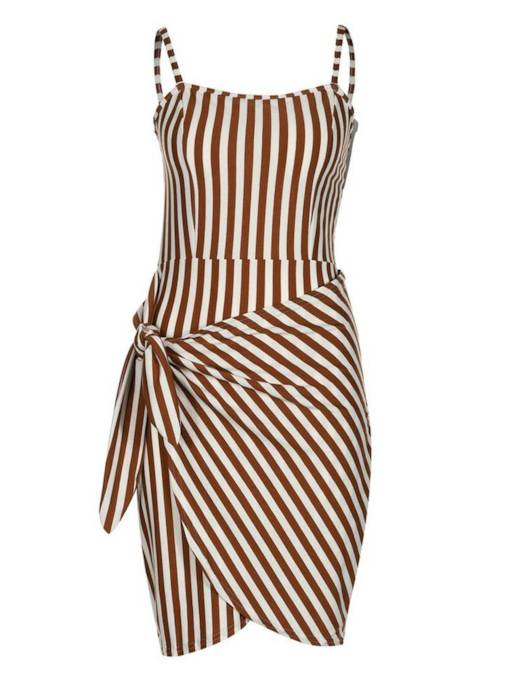 Brown Strappy Stripes Women's Party Dress