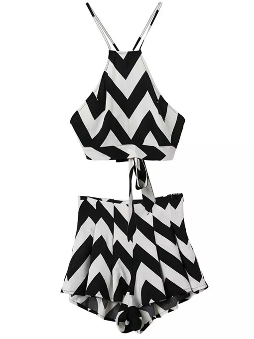 Geometric Print Cami Backless Women's Two Piece Sets