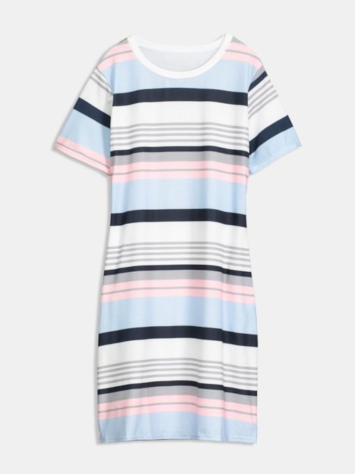 Striped Pockets Women's Day Dress