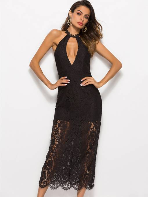 Halter Neck High Waist Backless Bodycon Lace Dress