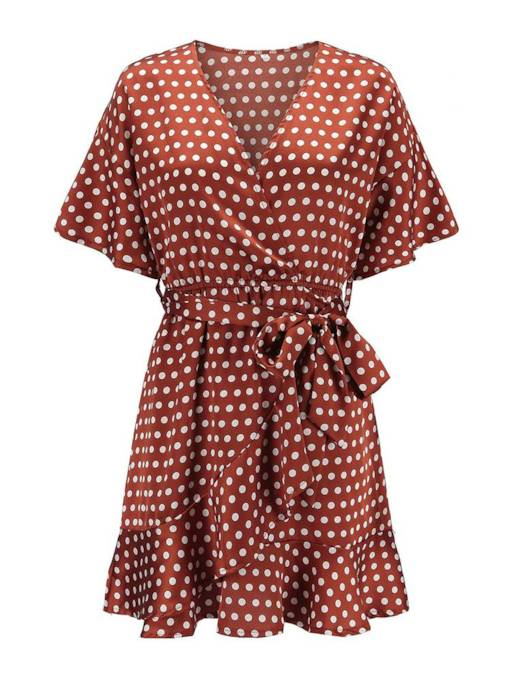 Orange Red Polka Dots Women's Day Dress