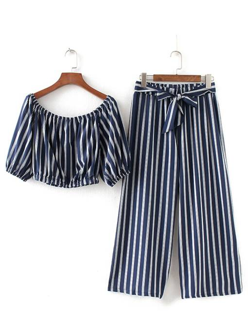 Striped Crop Top with Pants Women's Two Piece Set