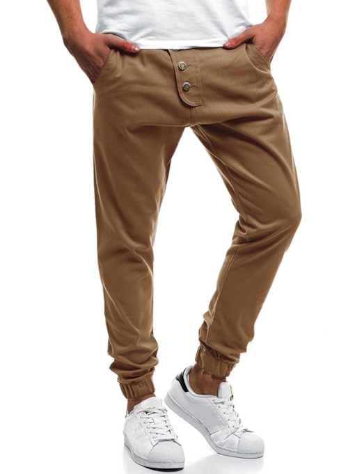 Button Decorated Multi Pocket Men's Casual Pants