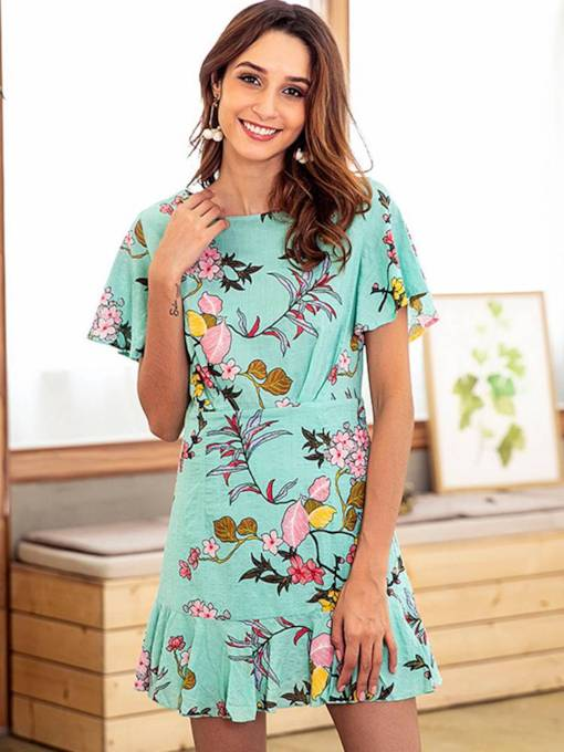 Green Short Sleeve Floral Women's Day Dress