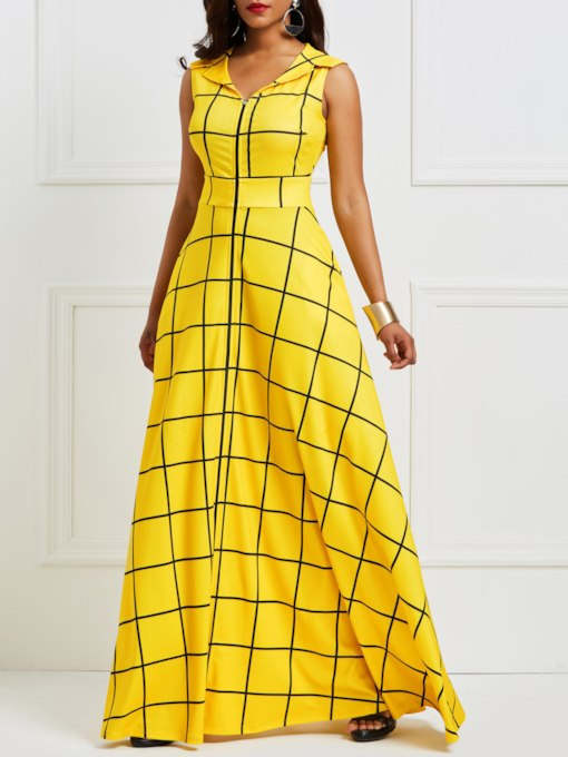 Yellow Sleeveless Floor-Length Women's Maxi Dress
