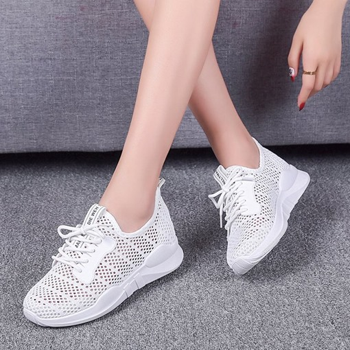 Mesh Breathable Lace Up Sports White Sneakers for Women