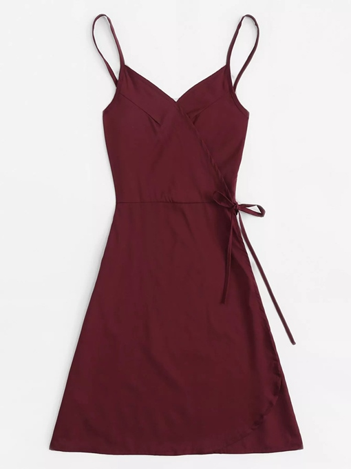 Spaghetti Strap Lace-Up Sleeveless Day Dress