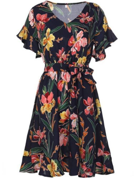 Short Sleeve Floral Women's Day Dress