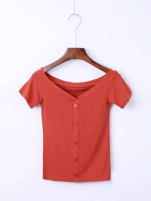 Boat Neck Button Up Women's Casual T-Shirt