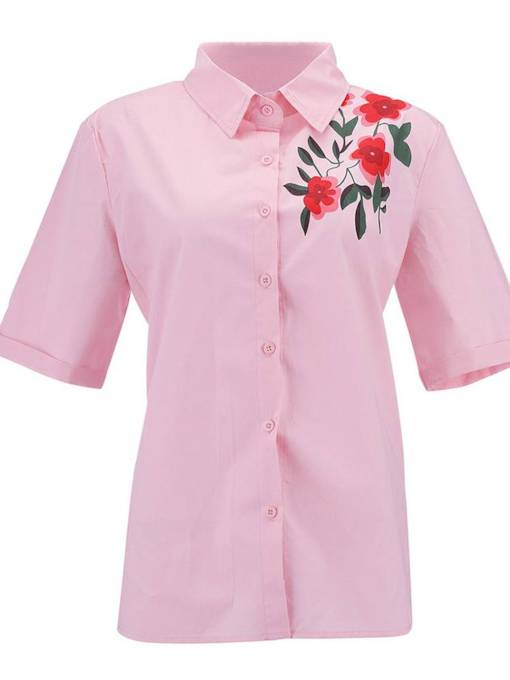 Floral Single-Breasted Short Sleeve Women's Shirt