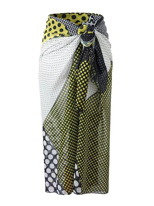 One Piece Color Block Patchwork Tie Waist Women's Wrapped Skirt