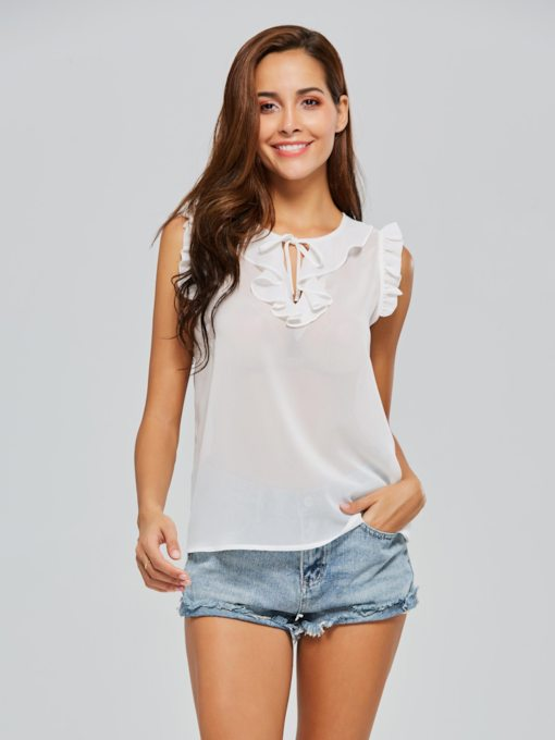 Ruched Keyhole Chiffon Sleeveless Women's Blouse