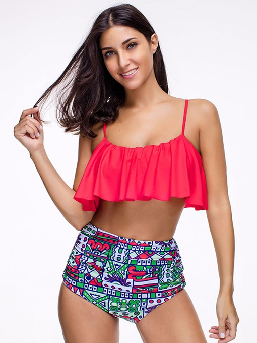 Ruffles Pleated High Waist 2-Pcs Bikini Bathing Suits