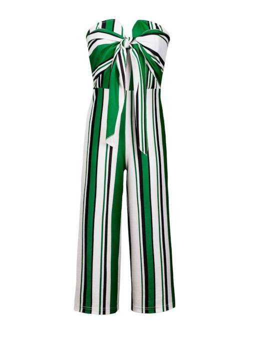 Strapless Tie Front Stripped Women's Jumpsuit