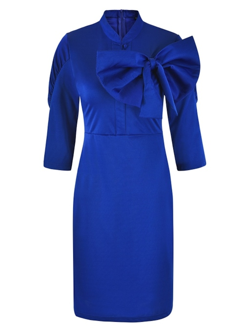 Stand Collar Bowknot Zip Sheath Dress