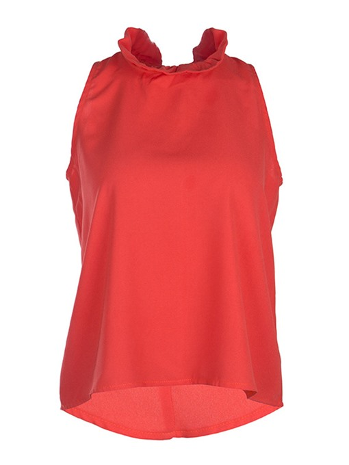 Falbala Stand Collar Tie Back Women's Tank Top